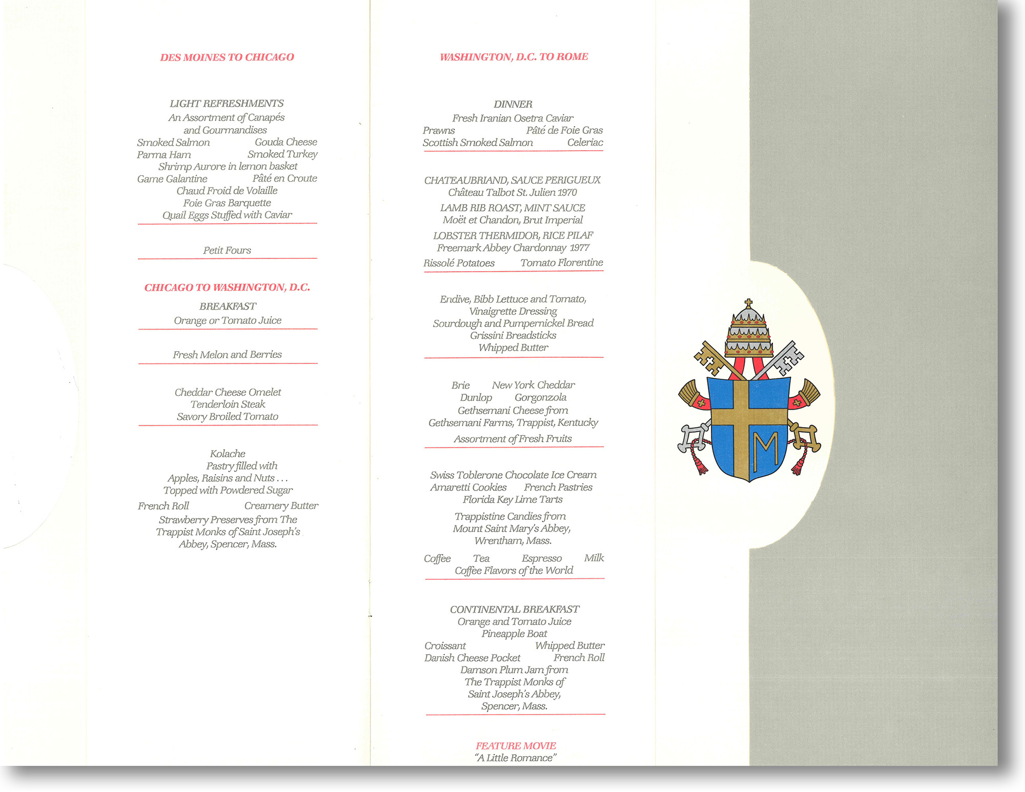 Papal Airline Menu