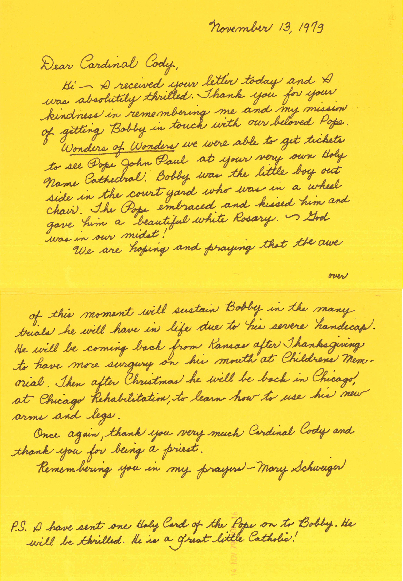 Mary Schweiger's card to Cardinal Cody